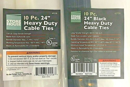 24/'/' Heavy Duty Cable Ties 10 Pk Clear /& 10 Pk Total 20 Pcs. Black