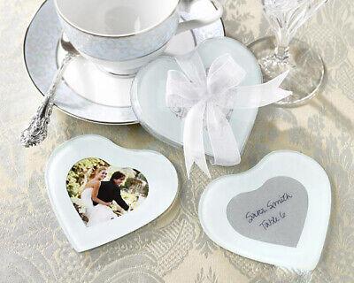 10 packs 2* White Glass Coasters Heart photo frame holder wedding bomboniere