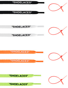 Flat-CUSTOM-034-SHOELACES-034-FREE-ZIP-TIE-OFF-LACES-NEW-WHITE-BUY-3-GET-1-FREE