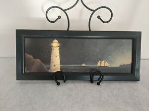Vintage-Nautical-Lighthouse-Schooner-Wood-Board-Folk-Art-Woodblock-Sullins-House