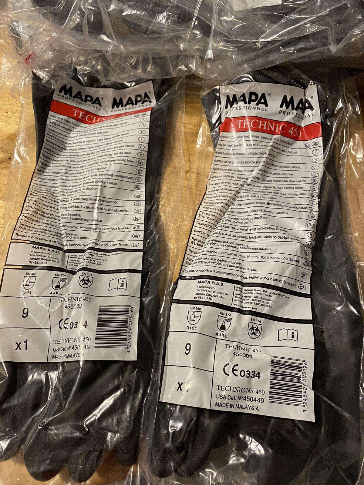(Lot 5 pr) MAPA Professionnel Technic 450 Gloves Size 9 Cotton Flock Lined