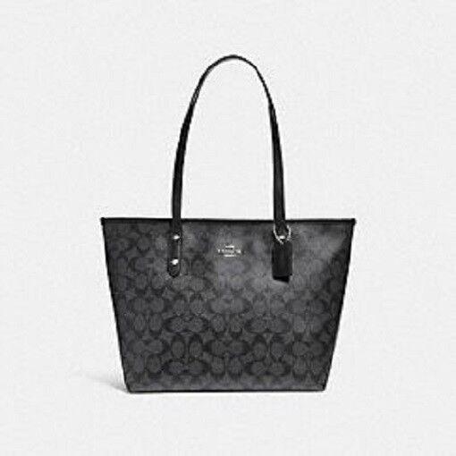 Coach Signature City Zip Tote Handbag Purse Bag Black Smoke F58292 Svdk6