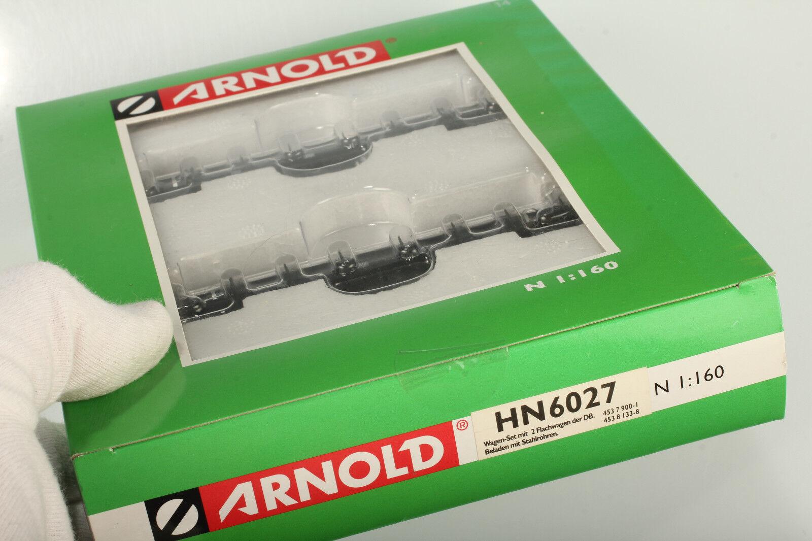 Arnold N HN HN HN 6027 2 DB Flachwagen mit Mannesmann Röhren - Top Zustand OVP Mängel 2ca325
