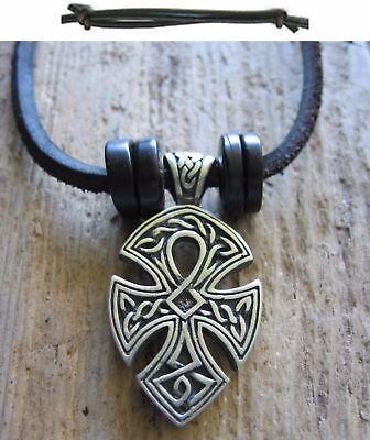 Triquetra Kelten Amulett Herrenkette Männerkette Leder Schwarz Lederkette Kette