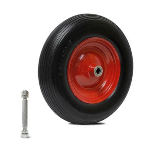 Pannensicher PU Reifen Ø390mm Vollgummi 4.80//4.00-8 inkl Achse Schubkarrenrad