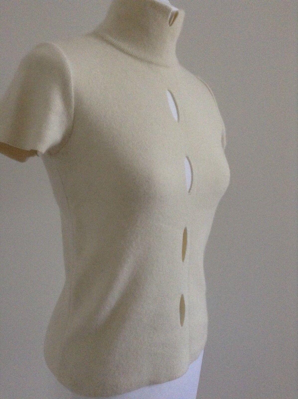 VALENTINO panna Angora Polo Polo Polo Con Colletto Top tagliato i dettagli Manica Corta Top indossata una volta 6380ec