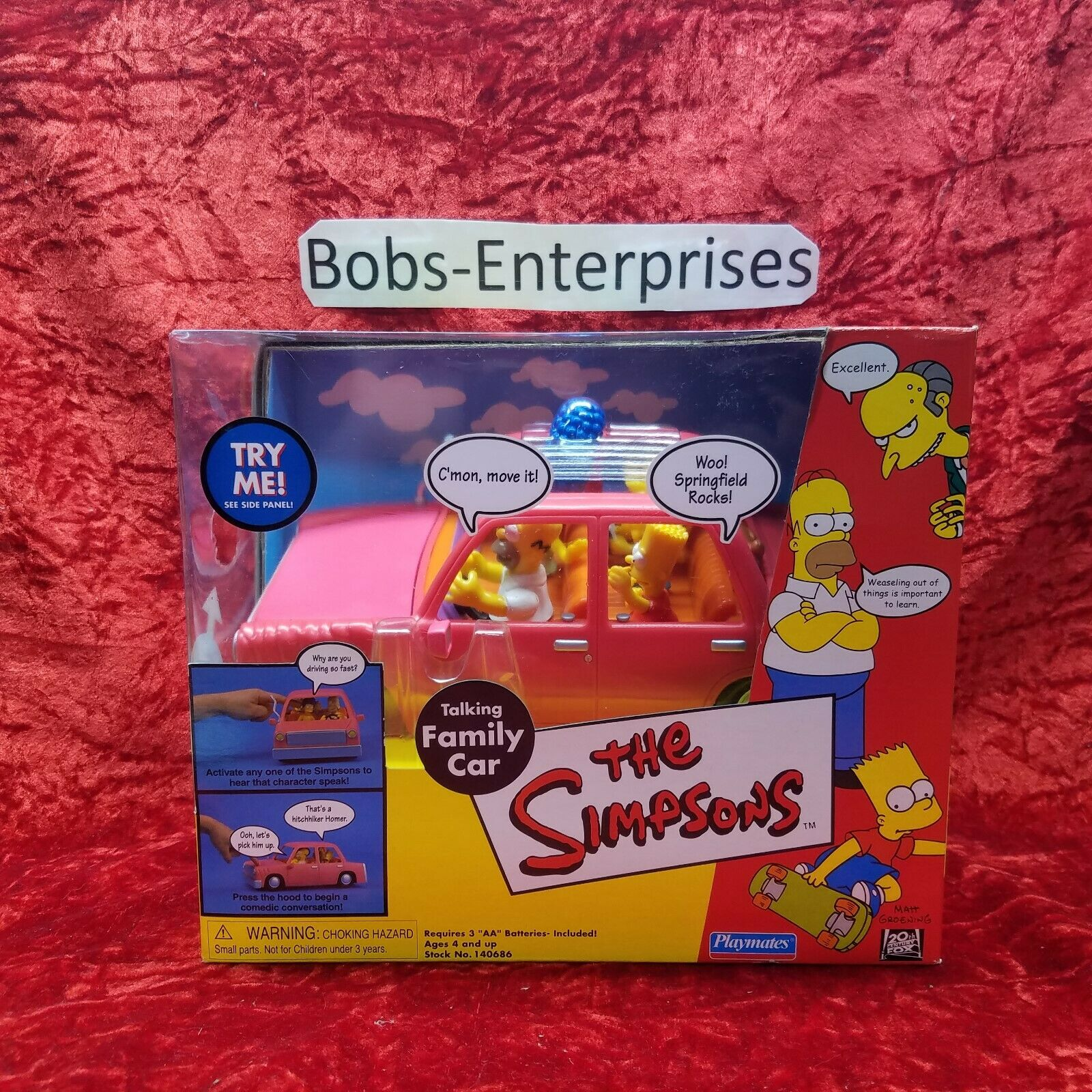 The SIMPSONS (2000) TALKING FAMILY CAR new, RARE   s-16