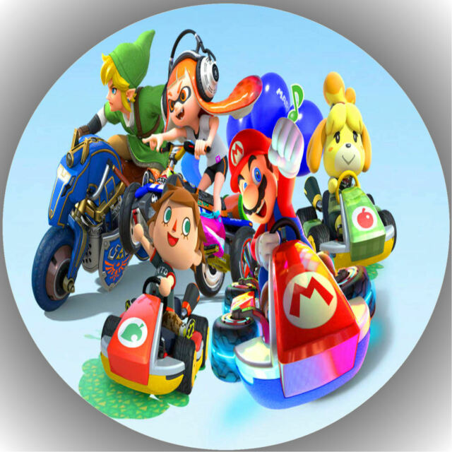 Tortenaufleger Geburtstag Tortenbild Fondant Oblate Mario Kart L3