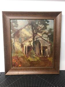Original-Oil-Painting-Landscape-House-In-Trees-20x22-W-Frame-Vintage-On-Wood