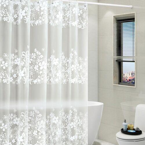 PEVA Shower Curtain Waterproof /&Mildew Resistant Semi-Transparent  w// 12 Hook up