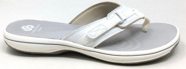Clarks Womens Breeze Sea Flip Flop Sandals 8M White For -4730