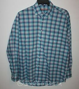 NEW-Mens-Size-M-Alan-Flusser-Vintage-Plaid-Casual-Shirt-Long-Sleeve-Blue-NWoT