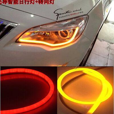2x 45cm Audi Tube Style Red Amber Switchback Headlight LED Strip Drl Run Light