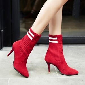 Ankle-Boots-Womens-High-Heel-Stiletto-Pointed-Toe-Stretch-Slim-Casual-Shoes-Plus
