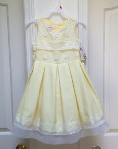 ac6c25100dc Details about Jessica Ann Toddler Girl s Yellow   White Linen Special  Occasion Dress-2T