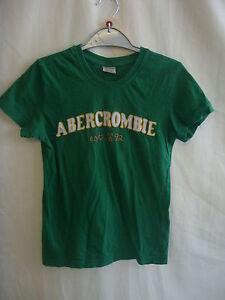 Femmes-Filles-T-SHIRT-Abercrombie-amp-Fitch-taille-XS-28-034-Buste-Vert-Coton-8124