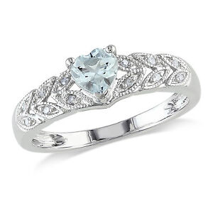 Amour Sterling Silver Aquamarine and Diamond Accent Heart Cocktail Ring