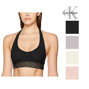 03181bc3bf Image is loading Calvin-Klein-Womens-Bare-Lace-Halter-Bralette