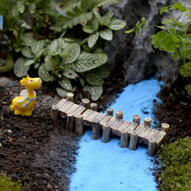 Mini Wooden Bridge Micro Landscape Resin Figurines Fairy Garden Accessories LY