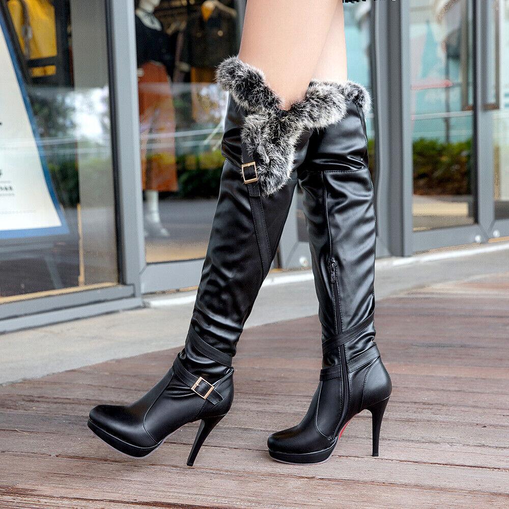Mode Damenstiefel Overknee Stiefel Rund Stiletto High Heel Schnalle Pelz Winter