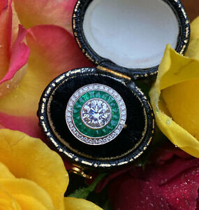 Art Deco Emerald and Diamond Ring Target 18ct White Gold Ring 1.65ct + 0.50ct