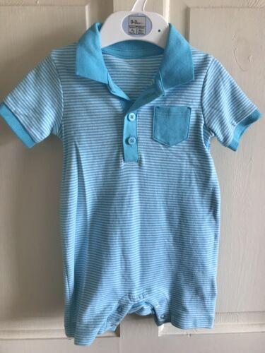 turquoise à rayures Summer garçons Entièrement neuf sans étiquette f/&f Surpyjama//Tenue Âge 6-9 mois