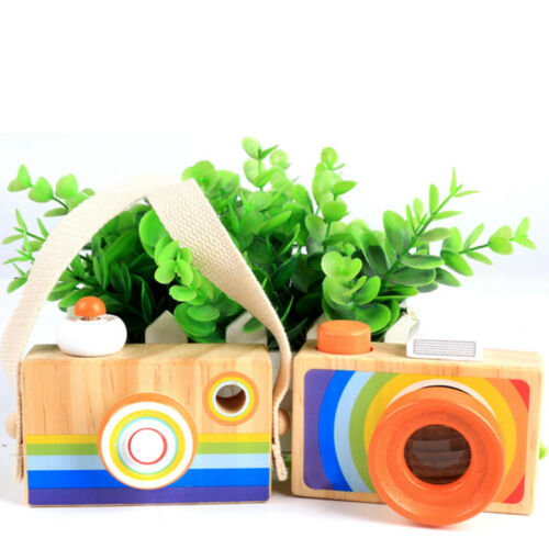 Wooden Camera Kids Toy Baby Gifts Children Wood Neck Decor Room Photography