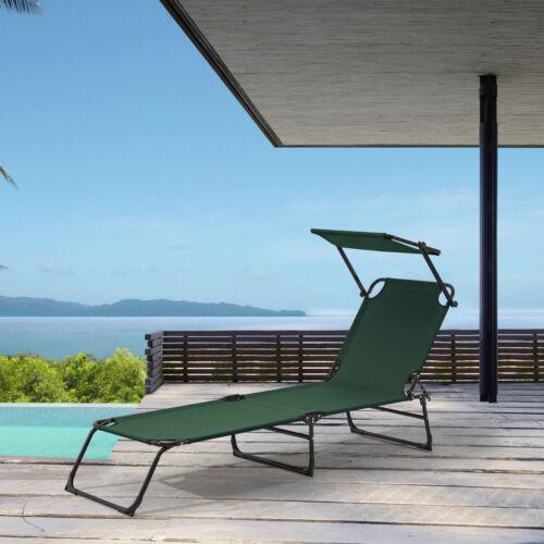 ® chaise longue 190cm vert foncé toile chaise longue de jardin plage casa.pro