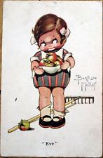 1920s Beatrice Mallet/Artist-Signed Postcard: Child w/Bowl of Apples 'Eve'