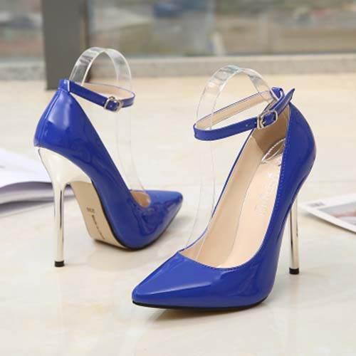 Womens Ankle Strap Stiletto 13cm High Heels Shoes Evening Party Pumps Big Size