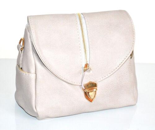 BORSA BEIGE donna bauletto zip oro borsetta ecopelle tracolla bag sac bolsa F120