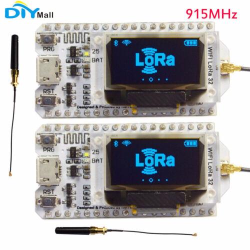 "2Pcs 915 MHz SX1276 ESP32 LoRa 0.96/"" Bleu OLED Display Bluetooth Wifi Lora Module"