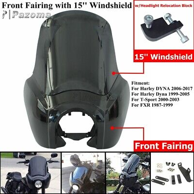 """Front Headlight Fairing 15/"""" Windshield For Harley Dyna FXDF FXDB FXDWG 2006-2017"""