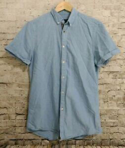 Zara-Man-Slim-Fit-Short-Sleeve-Button-Down-Collar-Shirt-Small-Blue