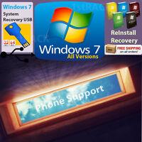 Windows 7 All Versions Reinstall Recovery Usb Flash Drive & Dvd W/hd Sp1