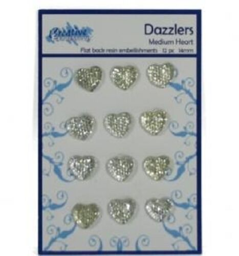 Creative Expressions DAZZLERS 12 Medium HEARTS 14mm Flat back resin embellishmen