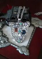Fashion Jaguar Pendant 14k White Gp/cubic Zirconia Necklace