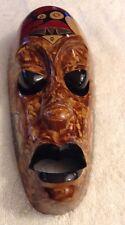 wood tribal mask tiki bar decor