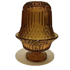 Vintage-Indiana-Glass-Diamond-Point-Amber-Yellow-Fairy-Lamp-6-5-Mint-Boho-Chic
