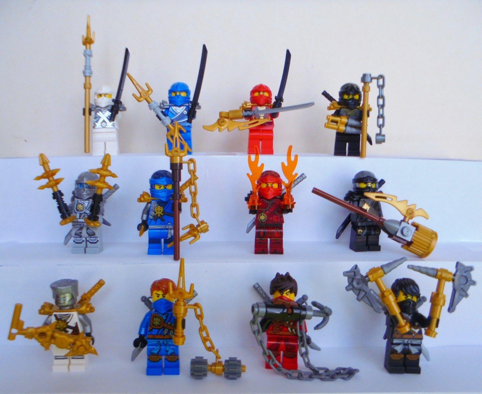 12x LEGO NINJAGO PERSONAGGI Jay Kai Cole Zane Maschera Armi CASCO capelli PERSONAGGIO NUOVO