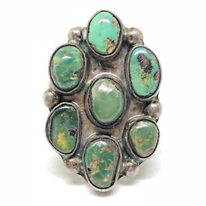 OLD-PAWN-Sterling-Silver-Turquoise-CLUSTER-Green-Nugget-Native-American-Ring-9
