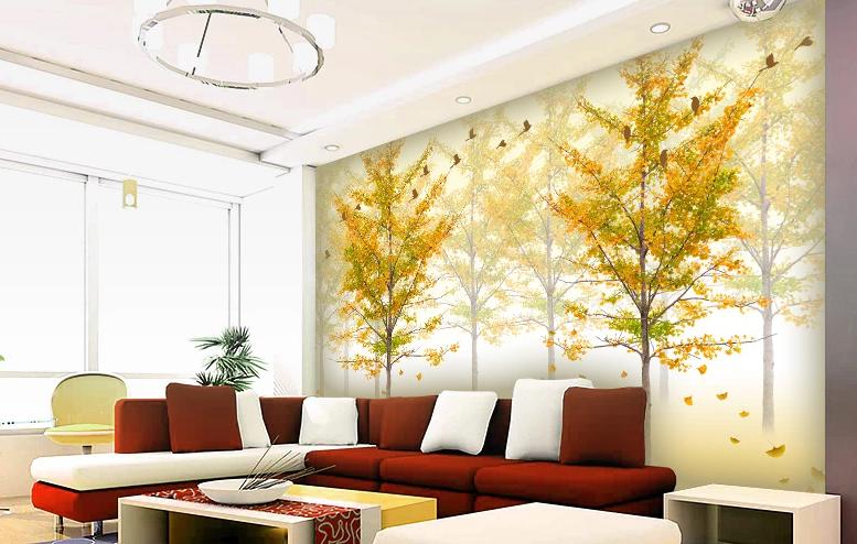3D Hazy Golden Trees 8 Wall Paper Murals Wall Print Wall Wallpaper Mural AU Kyra