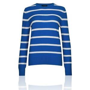 Details about M&S AUTOGRAPH T383367 Pure Cashmere Striped Round Neck Blue Jumper RRP £85