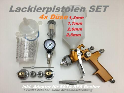 Adapter Sata Rps Becher Lackierpistole HVLP GOLD Set 4x Düse 1,3+1,7+2.0+2,5mm