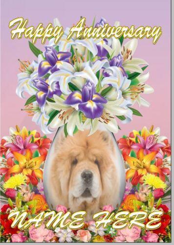 Chow Chow Chien Anniversaire Personnalisé Carte de vœux papa maman codefv 174