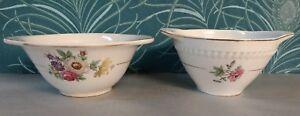 2 Bols Anciens A Oreilles Kg Lunéville - Bandonviller , Décor Floral / Tbe