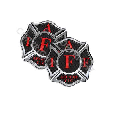 "IAFF Sticker Decals 4 pack Firefighter Int/'l Maltese Cross Black Blue 3/"" wide"
