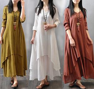 Kaftan Abaya Jilbab Maxi Dress Cotton Cocktail Islamic Muslim Loose Women Party