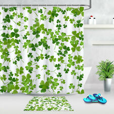 """St Patrick/'s Day Clover Owls 71X71/"""" Shower Curtain Set Waterproof Fabric Panel"""