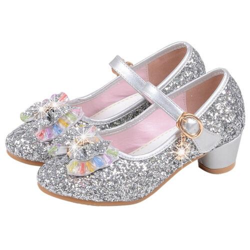 Fashion Girls Sequins Dress Buckle Shoes Children Princess Bowknot Party Shoes